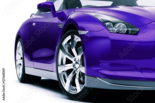 fioletowy-sportowy-samochod,-widok-z-przodu,-plakat