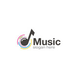 Music note logo creative design vector