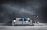 Sofa vor blaugrauer Wand mit Struktur - 127673696