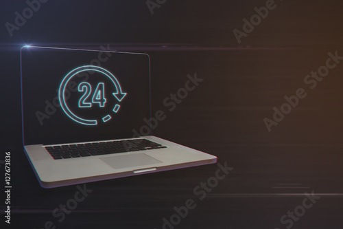 Poster Laptop with 24 Hours Icon on Light Motion Background and Lens Flare - Digital 3d