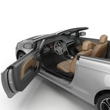 convertible sports car isolated on a white background. Door opened. 3D illustration