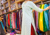 selection of clothing in the Indian store