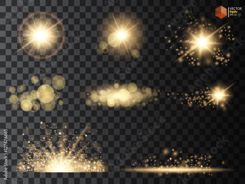 Golden glitter bokeh lights and sparkles. Shining star, sun particles  sparks with lens flare effect on transparent background