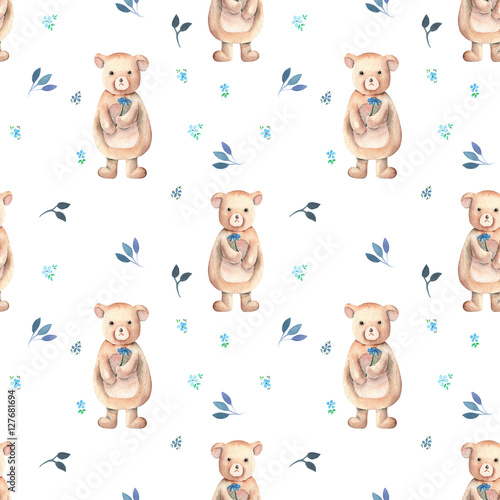 Seamless pattern with bear toys and floral ornament, hand drawn in watercolor on a white background - 127681694