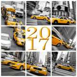 2017 yellow taxis in New York square greeting card
