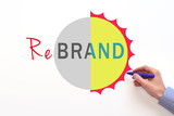 Rebrand sign on white background. Marketing strategy