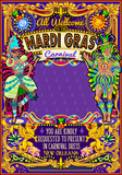 Mardi Gras festival poster illustration. New Orleans night Show Carnival Party Parade masquerade invitation card template. Latin dance event with samba or salsa dancer theme. Carnival mask lily vector