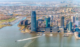 Jersey City skyline as seen from helicopter, USA - 127692892