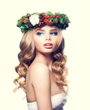 Christmas Woman with Makeup, Blond Curly Hair and Floral Xmas Wr