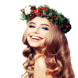 Smiling Model Woman with Christmas Wreath Isolated on White