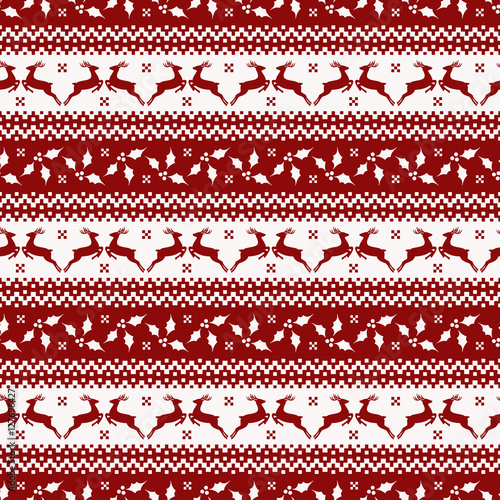 Cotton fabric Christmas seamless pattern with deer and holly.