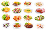 set of various plates of food - 127696661