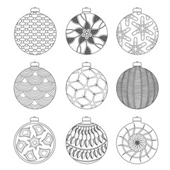 Set of Hand draw Christmas balls for coloring with doodle elements. Black and white Coloring book und page. Vector illustration.