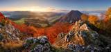 Slovakia forest autumn panorana landscape with mountain at sunri