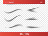 Realistic vector shadow with transparent background, set of transparent realistic linear paper shadow  vector illustration - 127702289