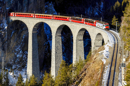 Train goes over bridge among mountains Poster