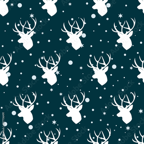 Materiał do szycia Christmas pattern with deers. Deer heads seamless pattern