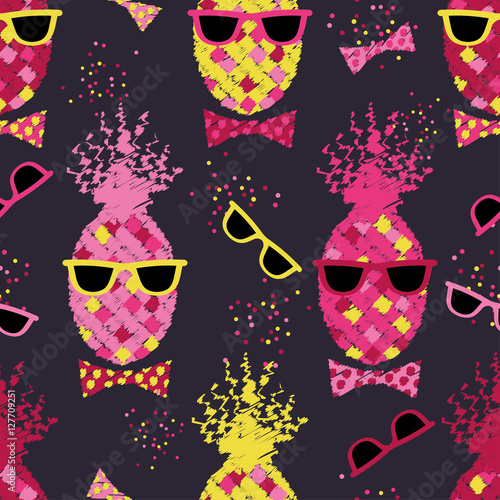 Cotton fabric Seamless pattern with decorative pineapples. Pineapple with glasses. Tropical fruits. Print. Repeating background. Cloth design, wallpaper.