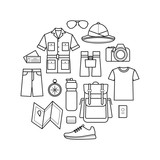 Vector icons set of safari. Planning a summer vacation, tourism and journey objects and passenger luggage