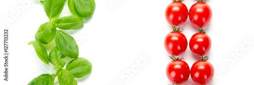Foto op Canvas Verse groenten tomaten mit basilikum
