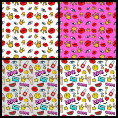 Lips, Eyes, Hands, Money and Crowns Seamless Pattern Set. Fashion Backgrounds in Retro Comic Style. Vector illustration