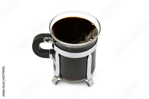 Poster Close up of a mug in glass with dark black coffee