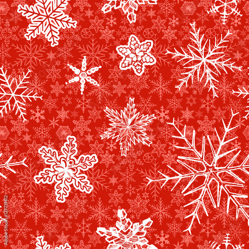 Materiał do szycia Christmas pattern with decorative snowflakes on red background. Vector illustration in ink hand drawn style.