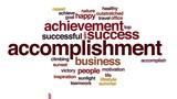 Accomplishment animated word cloud.