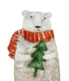 Polar bear with Christmas tree. Hand drawing illustration - 127726699