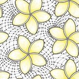 Vector seamless pattern with dotted flower of Plumeria or Frangipani in yellow and lace on the white background. National flower of Laos and Bali. Floral background in dotwork style for summer design.