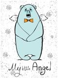 Ręcznie narysowanego angel bear hipster