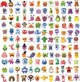 Large vector of different characters monsters