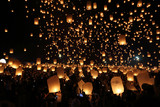 Floating lantern festival in Thailand - 127734067