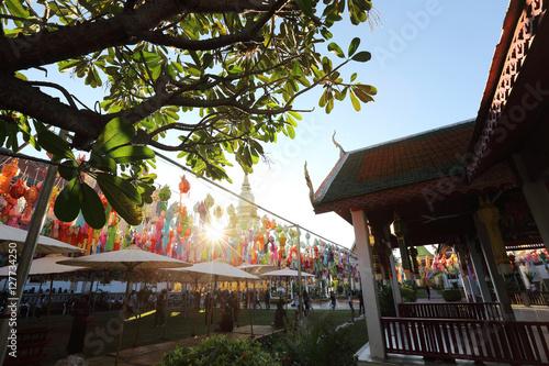 Poster Thai pagoda in Lamphun Thailand