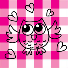 sweet little owl on checkered background