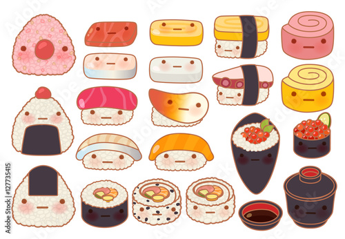 Collection set of lovely baby japanese food doodle icon, cute su - 127735415