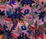 Seamless tropical floral pattern. Hand painted watercolor exotic plants and birds, on tribal geometric background, neon colors. Textile design.