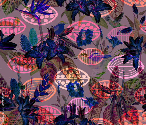 Seamless tropical floral pattern. Hand painted watercolor exotic plants and birds, on tribal geometric background, neon colors. Textile design. - 127735897