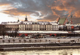 Fototapety View of the Royal Castle and the Vistula river in the Old Town of Warsaw at winter sunset, Poland