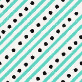 Hand drawn seamless pattern in green and black on cream background.