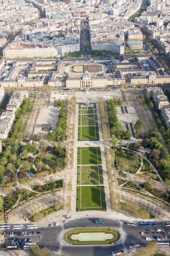 Aerial view from Eiffel Tower on Champ de Mars - Paris. Poster