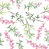 Watercolor Berries and Green Leaves Seamless Pattern