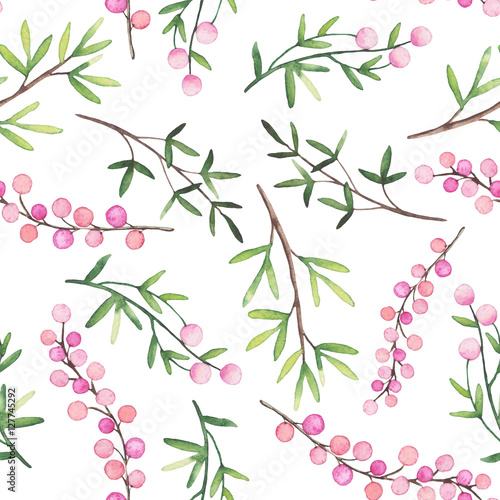 Watercolor Berries and Green Leaves Seamless Pattern - 127745292