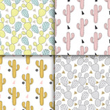 Cactus set seamless pattern, vector illustration. Hand drawn cac
