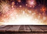 Fototapety Abstract firework background with wooden planks