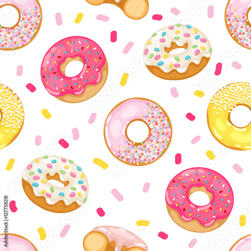 Cotton fabric Donuts vector seamless pattern