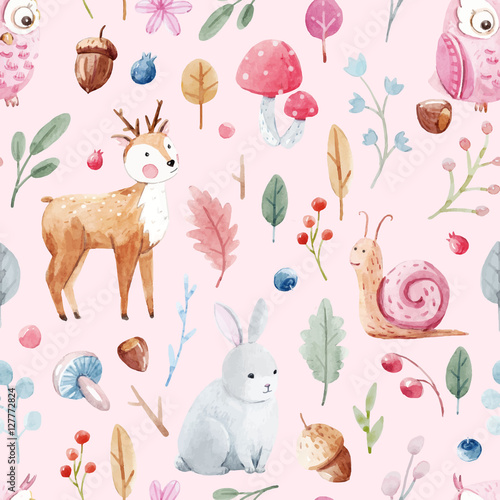 Cotton fabric Watercolor baby vector pattern