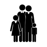 black silhouette of family nucleus vector illustration