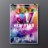 New Year Celebration Party illustration with 2017 holiday typography designs with disco ball on shiny color background.