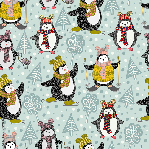Materiał do szycia Seamless pattern with cute cartoon penguins, hand-drawn vector illustration